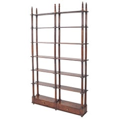 Antique Italian Fruitwood Open Bookcase