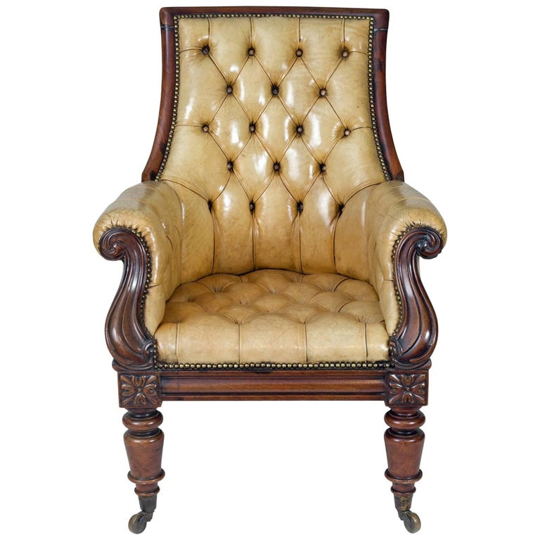 Late Regency Mahogany and Leather Library Armchair 1