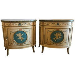 Pair of Adams Style Demilune Painted Commodes or Bedside Chests