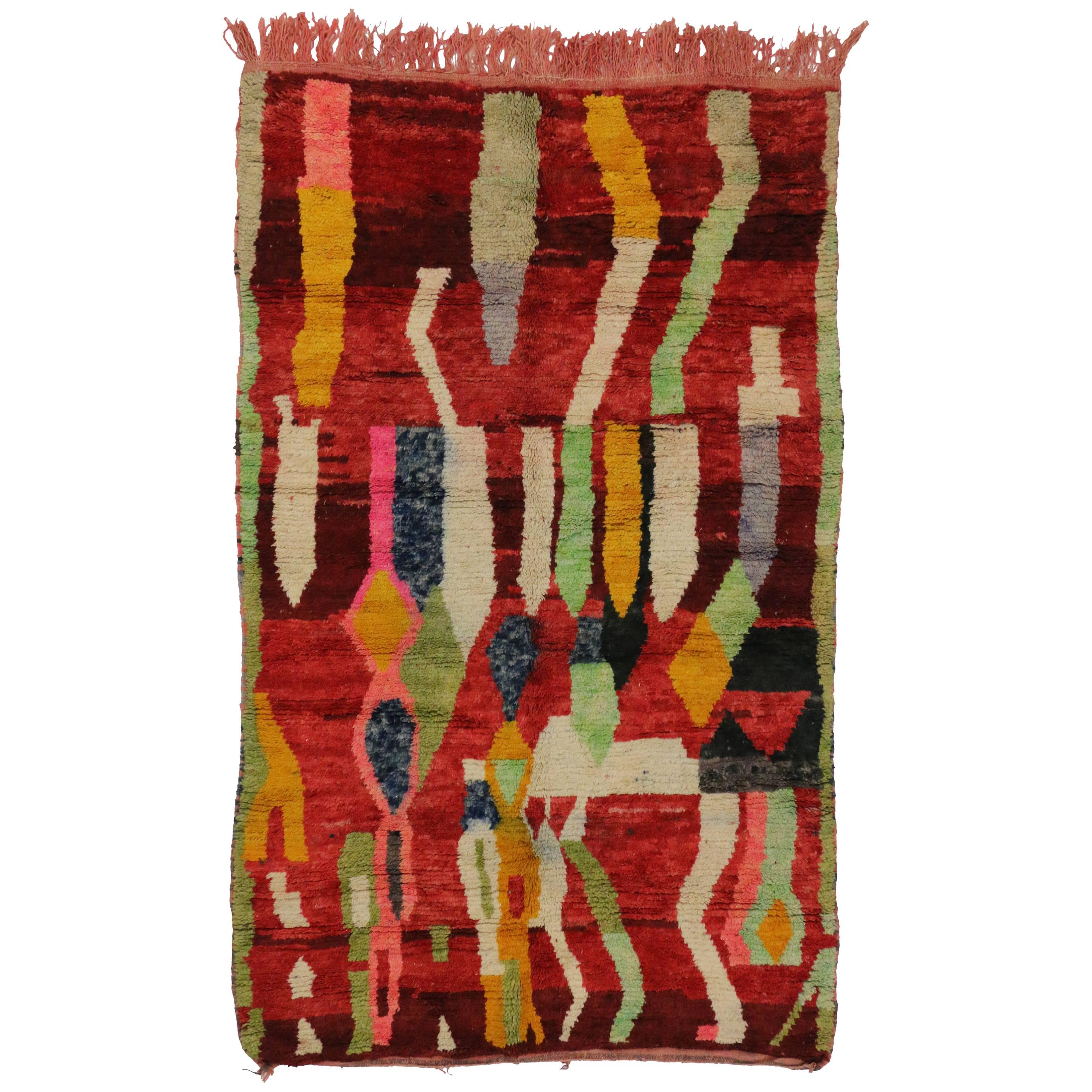 Contemporary Berber Colorful Moroccan Rehamna Rug with Postmodern Bauhaus Style