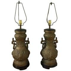1970s James Mont Style Bronze Asian Lamps, Pair