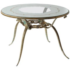 Hollywood Regency Round Mirrored and Clear Pattern Coffee Table in Gilt Metal