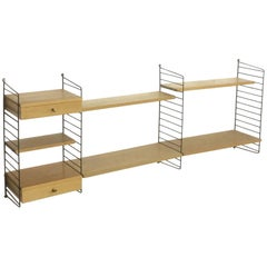 Original 1970s Modular String Wall Unit in Ashwood by Nisse Strinning, Sweden