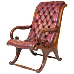 "William iv Mahogany ""Sleigh"" Shaped Library Armchair"
