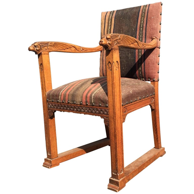 Rare Antique Gothic Revival Oak Armchair Chair with Demon Sculptures as Armrests