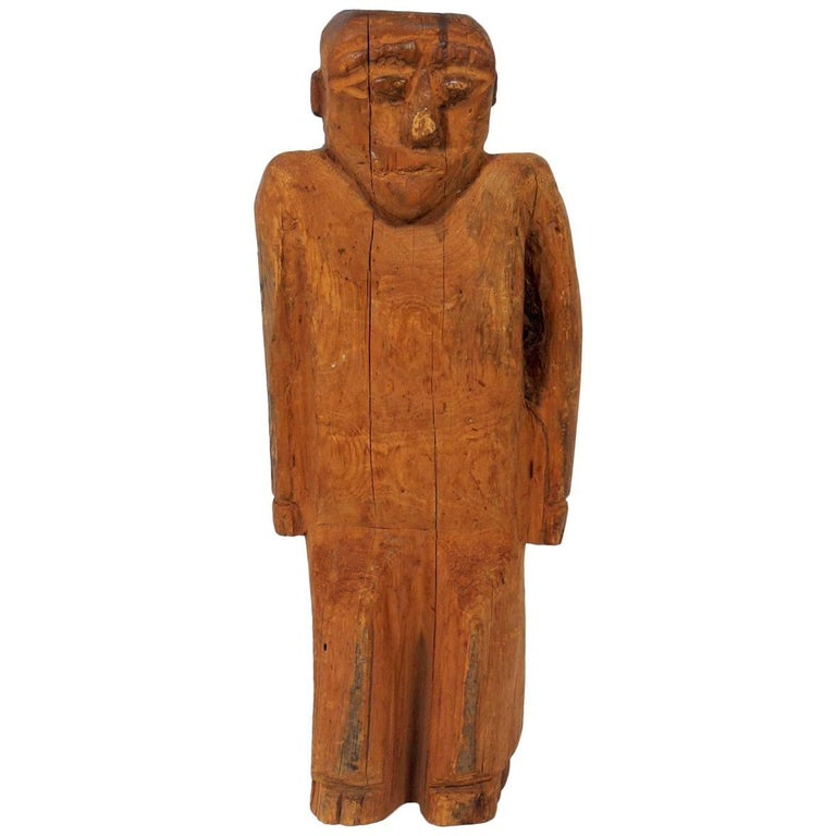 Hand-Carved Folk Art Man Sculpture For Sale