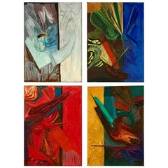 "Set of Four Abstract Paintings ""Les Four Saisons"" by Franco Assetto, 1962, Italy"