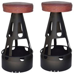 Pair of Industrial Missile Cone Bar Stools