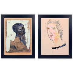 Pair of Marino Marini Portrait Lithographs