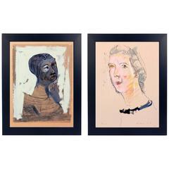 Pair of Marino Marini Portrait Lithographs