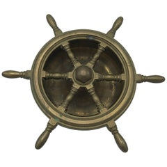 1950s Italian Brass Nautical Ship Wheel Ashtray