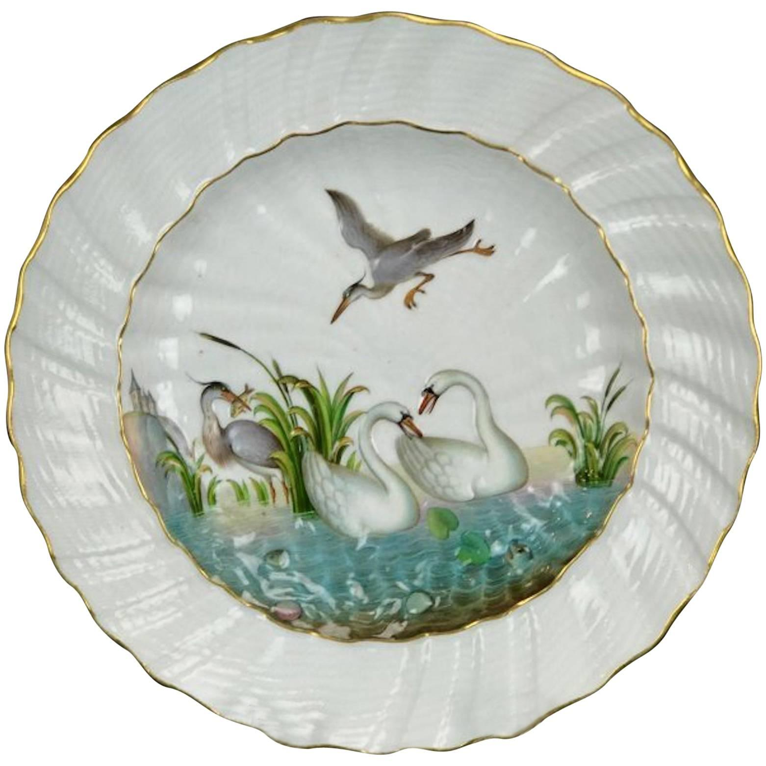 19th Century Swan Pattern Meissen Plate