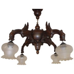 Early 20th Century Handcrafted Gothic Art Four-Arm Winged Dragon Pendant Light