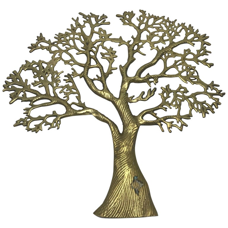 1960s Italian Brass Tree of Life Wall Hanging Sculpture