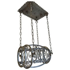 Unique 1920s Industrial, Whisky Barrel Shaped Iron Distillery Pendant Light
