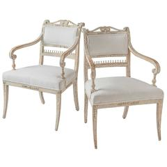 Rare Pair of Gustavian Period Armchairs, circa 1800