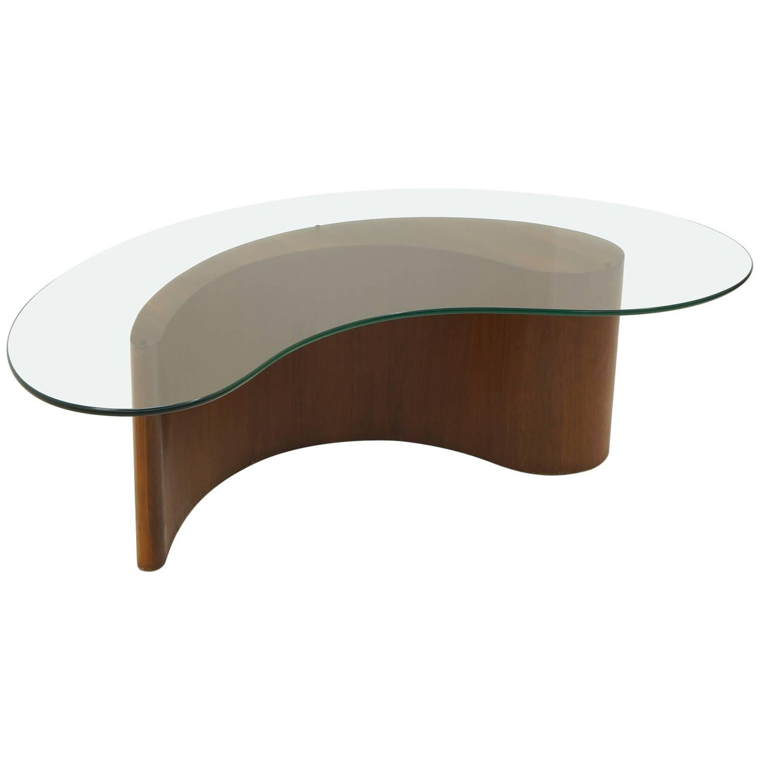 Vladimir Kagan Apostrophe ma Coffee Table Walnut and Glass