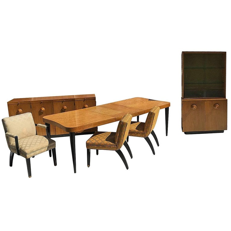 "Gilbert Rohde Art Deco ""Paldao"" Dining Room Set for Herman Miller, Seats Eight"
