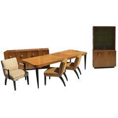 "Gilbert Rohde Art Deco ""Paldao"" Dining Room Set for Herman Miller, Seats Eight"