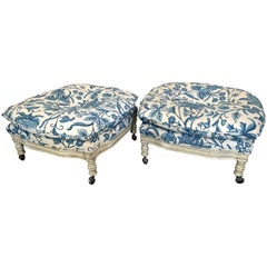Pair of Vintage 1960s Italian Regency Style Crewel Work Embroidered Ottomans