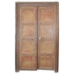 Pair of Spanish 18th Century Original Painted Eight-Panel Doors with Surround