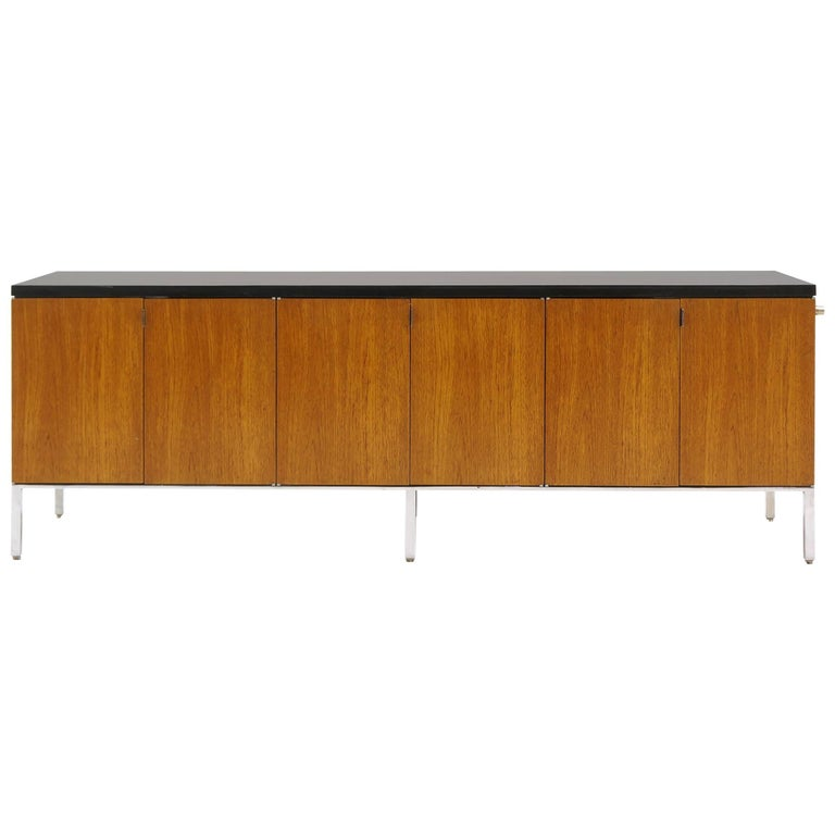 Florence Knoll Low Credenza or Media Cabinet in Walnut, Chrome, Black Enamel Top