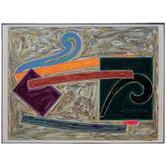 Abstract Mixed-Media Signed and Dated by Frank Stella 1977 on Graph Paper