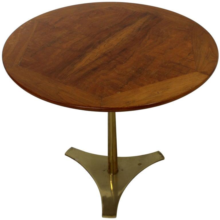 Mid-Century Modern Milo Baughman Arch Gordon Wood Brass Side Table, 1950s