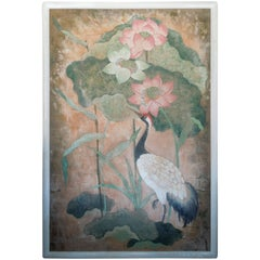 Monumental Flora and Fauna Hollywood Regency Chinoiserie Style Original Painting