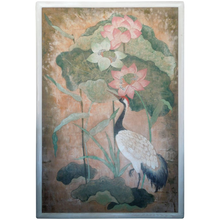 monumental flora and fauna hollywood regency chinoiserie style original painting for sale at 1stdibs