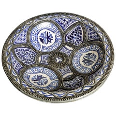 Moroccan Fez Ceramic Plate in Blue and White Adorned with Filigree