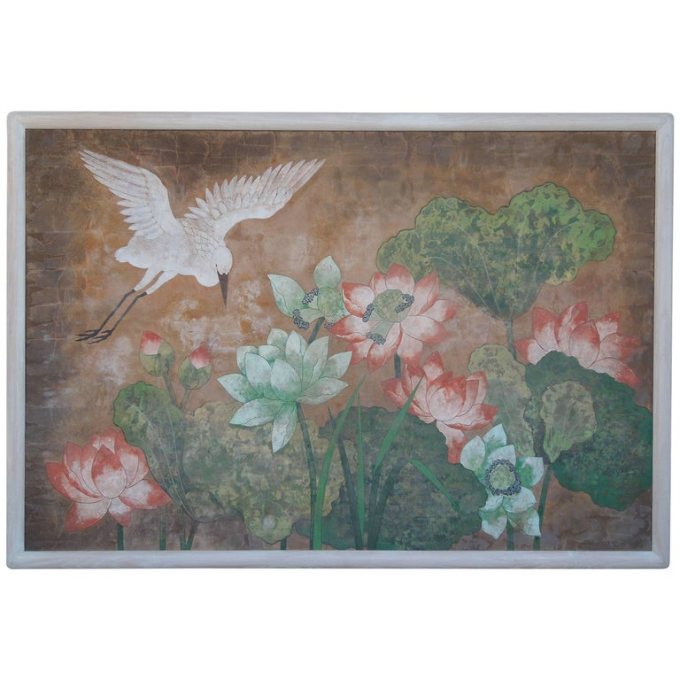 Monumental Painting in Hollywood Regency Chinoiserie Style of Crane and Flowers