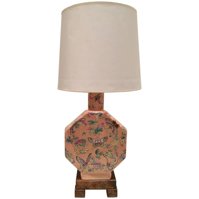 "Antique Chinese Famille Porcelain Hand-Painted ""Butterfly"" Lamp For Sale"