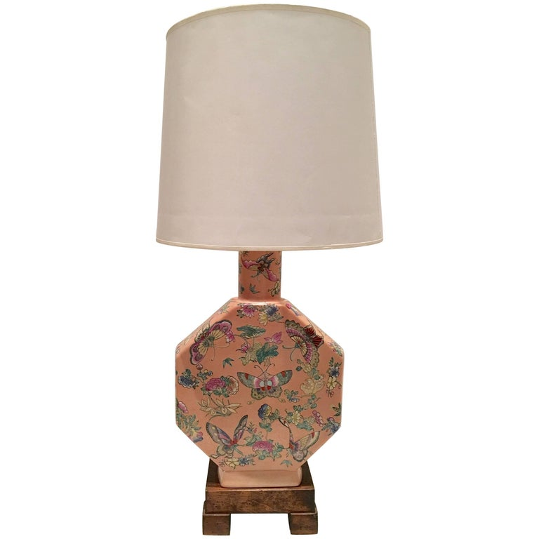 """Antique Chinese Famille Porcelain Hand-Painted """"Butterfly"""" Lamp For Sale"""