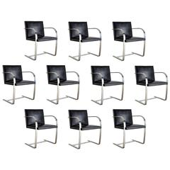 Set of Ten Signed Knoll Associates Brno Chairs by Mies van der Rohe