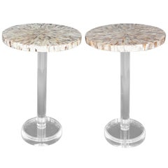Pair of Mother-of-Pearl Side Tables with Lucite Bases