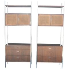 Pair of Wood and Metal Cabineted Shelves