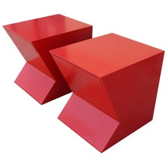 Architectural Cherry Red Lacquer Geometric Shaped Nightstands, Pair