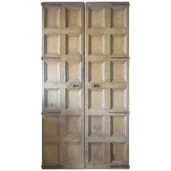 Spanish Late 18th Century 12-Panel Doors with Original Hardware and Paint