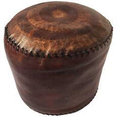African Hand Tooled Brown Leather Pouf