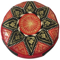 Moroccan Round Pouf Hand-Tooled and Embroidered in Fez Morocco