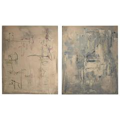 Pair of Contemporary Modern Abstract Acrylic Paintings on Canvas
