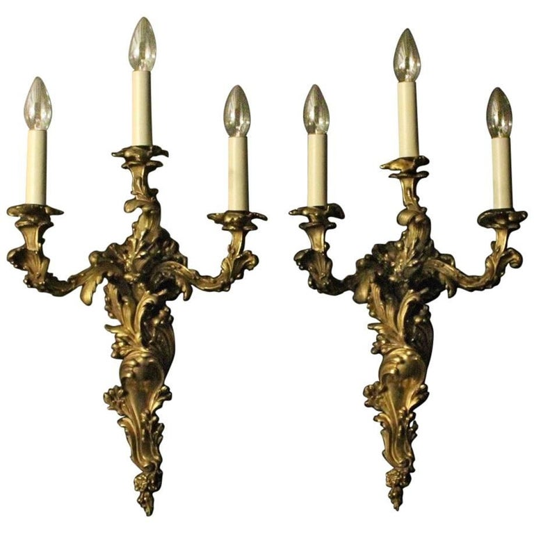 French 19th Century Gilded Wall Sconces