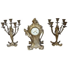 Art Nouveau Gilt Bronze Lady Sculpture Mantel Clock with 2 Matching Candelabras