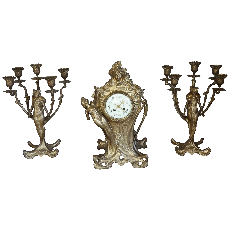 Art Nouveau Gilt Bronze Lady Sculpture Mantel Clock with 2 Matching Candelabras