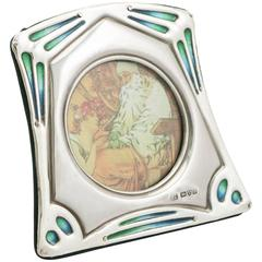 Antique Edwardian Sterling Silver and Enamel Photograph Frame
