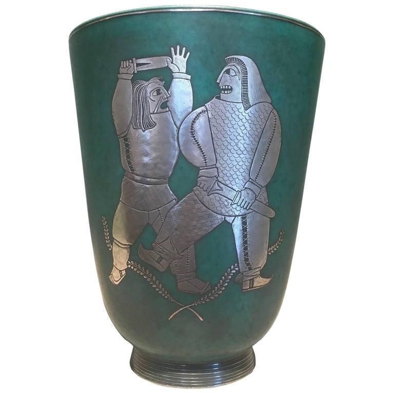 Wilhelm Kage Argenta Vase with Two Warriors in Silver, Sweden