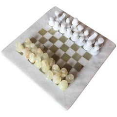 Green, White Onyx Marble Hand-Carved Chess