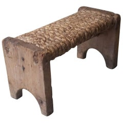 Early 19th Century Footstool Made of Straw and Wood
