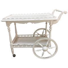 Italian White Carriage Wood Trolley